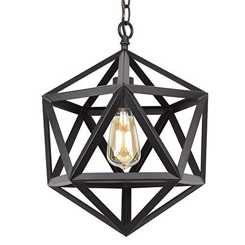 NBLYW Lámpara Colgante geométrica de Metal Industrial, iluminación Colgante de poliedro Lámpara Colgante de Hierro Forjado Industrial Vintage para Bar, Restaurante, cafetería