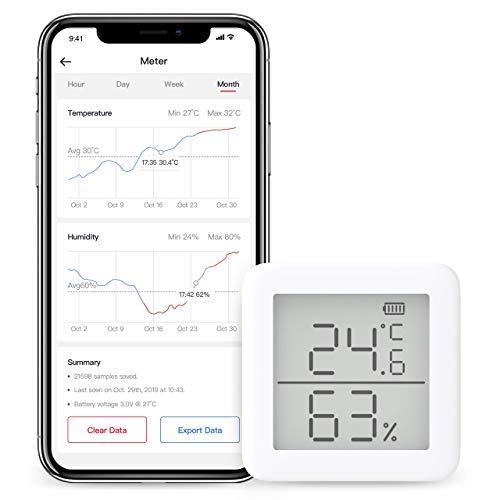 SwitchBot - Thermometer und Hygrometer, kompatibel mit Alexa, drahtloser Temperatur- und Feuchtigkeitssensor mit Warnmeldungen 1x thermo-hygrometer 2xbattery