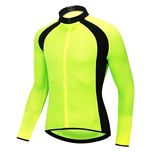 Maillot Ciclismo Hombre,Manga Larga Bike Abrigo Camiseta Ciclismo Bicicleta Jersey Chaqueta,Secado Rápido Respirable Deportes al Aire Libre Ropa(Size:L,Color:Verde)