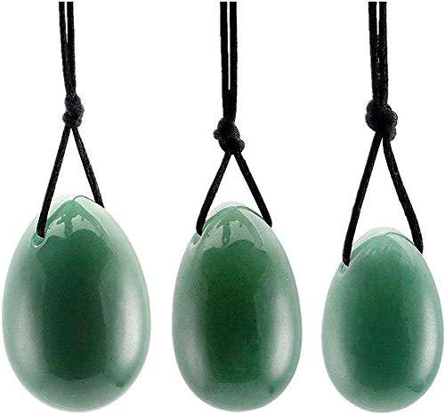 ZCME-power 3 Unids Cuarzo Yoni Huevo Cristal Perforado Masaje Huevo de Piedra para Mujeres Ejercicio Kegel Músculos del Piso pélvico Ejercicio Vaginal Cuidado de la Salud del Huevo Yoni