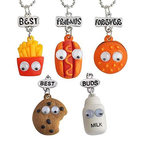 BRACO Collares Best Friends Forever, Set de 5 Colgantes Alimentos en Miniatura, Mejores Amigos, Amistad, Leche, Galleta, Hot Dog, Hamburguesa y Patatas Fritas.
