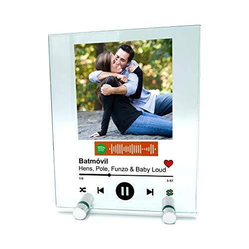 YOSTIC Cuadro de Cristal Personalizado con canción y Foto. Regalo Original. Regala música de una Forma Nueva. Estuche DE Regalo (15x18cm)