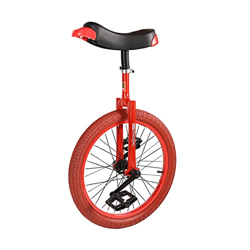 JLXJ Red Unicycles for Adults Kids - Steel Frame, 20 Inch One Wheel Balance Bike for Teens Men Woman Boy Rider, Mountain Outdoor
