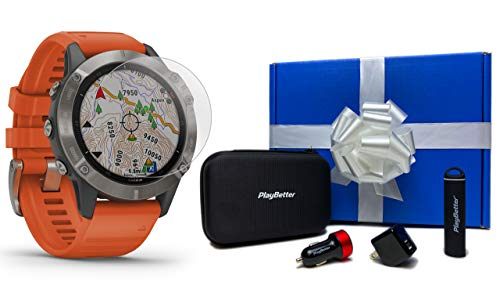 For Sale! Garmin Fenix 6 Sapphire (Titanium with Orange Band) Gift Box Bundle | +HD Screen Protector...