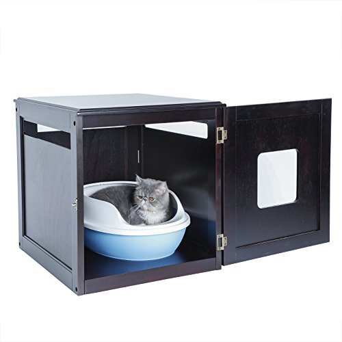 Petsfit Hölzernes Haustier Haus, Katzenklo, Umweltfreundliche Farbe, Dunkler Kaffee, 60cm x 50cm x 55cm