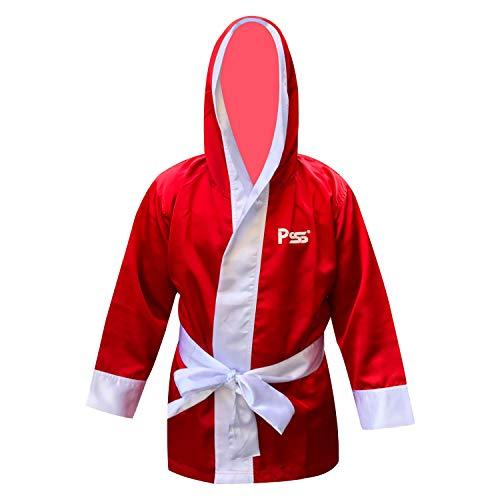 PSS Traje de boxeo de manga larga, uniforme de kickboxing, artes marciales mixtas de Muay Thai con capucha y cinturón blanco para niños 3 colores (negro, azul, rojo) 910 (910 rojo, 9-10 años)