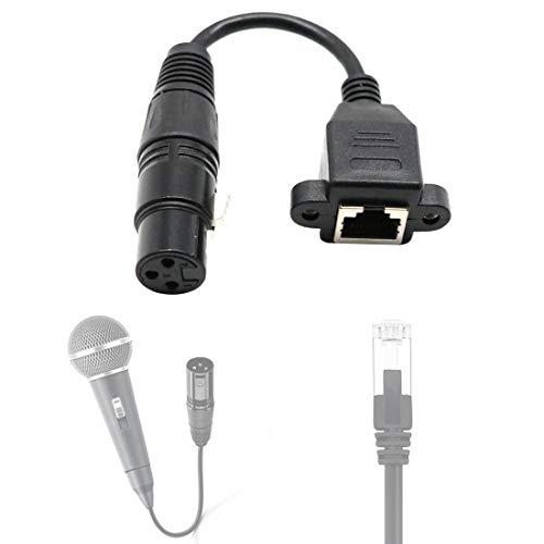 Cable con convertidor 3 Pin Hembra a RJ45 Adaptador de Conector de Red Femenino -15cm, Liqingshangmao