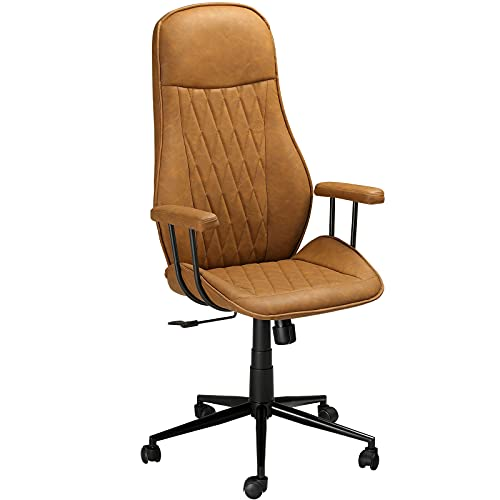 DICTAC Bürostuhl Leder Schreibtischstuhl mit Abnehmbarer Armlehne Chefsessel Braun Computerstuhl Ergonomischer Office Stuhl Höhenverstellbarer Arbeitsstuhl Drehstuhl, Belastic bis 180kg
