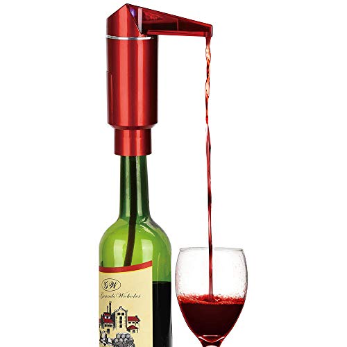 Aireador eléctrico de vino, bomba de decantador de vino portátil de un toque y dispensador para boquilla de vino se adapta a la mayoría de botellas