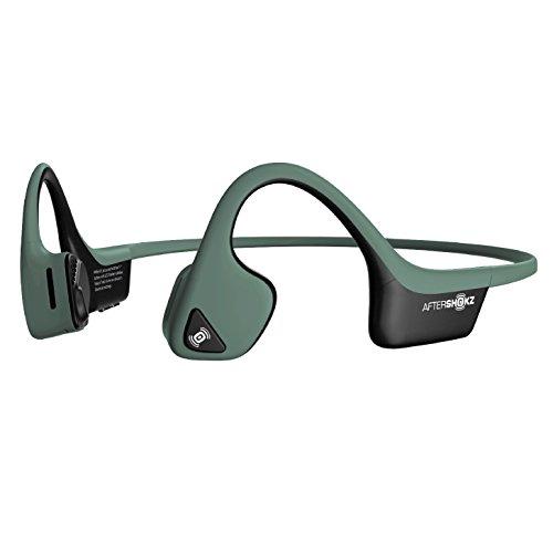 AfterShokz Trekz Air Sweatproof Bone Conduction Bluetooth Headphones Wireless Earphones with Mic for Running, Forest Green