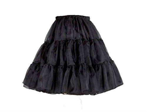 L.O.S 50er 60er Jahre Petticoat, Tüllrock, Dirndl Rock, Unterrock, Hochzeit, Schwarz, 32-44 S/M, M/L kurz (S/M)