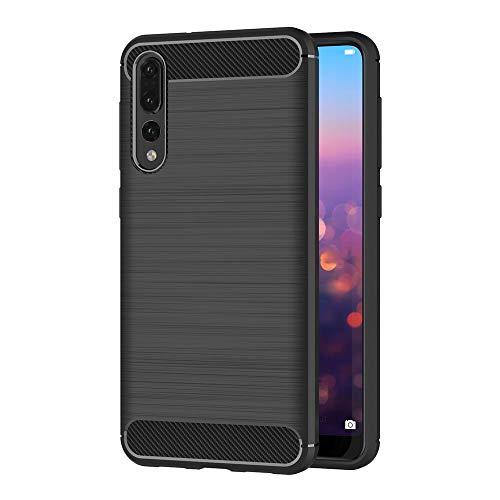 Coovertify Funda Fibra de Carbono Negra Huawei P20 Pro, Carcasa Negra TPU Gel Silicona Flexible Textura Efecto Fibra de Carbono para Huawei P20 Pro (6,1')