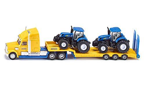 SIKU 1805, LKW mit New Holland Traktoren, 1:87, Metall/Kunststoff, gelb/blau, Viele Funktionen