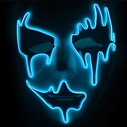 YISC El Wire Glowing Mask Luminous LED Light Up Cool Halloween Party Show Máscaras DJ Birthday Cosplay Grimace Festival (White-Blue C)