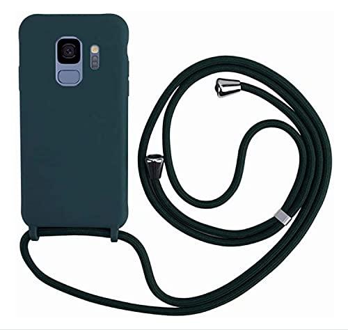 MEIVS Funda Compatible con Samsung Galaxy S9 Plus, Ajustable Collar Correa de Cuello CordónCarcasa de Silicona-Verde Oscuro