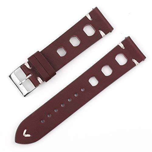 Beapet Pulsera de Accesorios de Reloj de Reloj de Cuero Vintage Hecha a Mano Pulsera de Accesorios 18mm20mm 22mm 24mm (Color : Wine Red, Size : 22mm)
