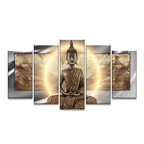 ZHJJD Cuadros De Buda Zen Arte De La Pared 5 Piezas Pintura Al óLeo Cuadro De Lienzo Horizontal ImpresióN De Arte De Buda...