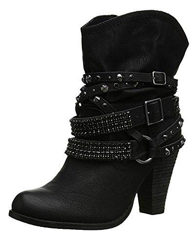 Minetom Ankle Boots Trendige Damen Stiefeletten Blockabsatz Plateau Schwarz EU 38