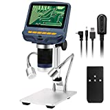 STPCTOU LCD Digital USB Microscope 4.3 Inch 1080P with 10X-200X Magnification Zoom FHD, 8 LED Adjustable Light, Camera Video Recorder for Phone Repair Soldering Tool Jewelry Appraisal Biologic Use