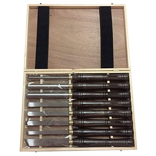 Juego de 8 piezas de cincel de torno de herramientas de torneado de madera HSS con mango de nogal y virolas de latón con caja de almacenamiento de madera