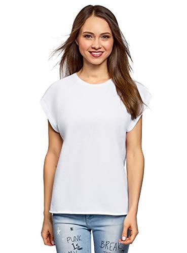 oodji Ultra Mujer Camiseta de Algodón Básica, Blanco, ES 40 / M
