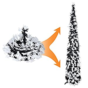 joy-leo 5ft white ghost sequins halloween tree / 5 feet black pop-up tinsel christmas trees for small spaces, easy to assemble and store, good idea for halloween & christmas & office decorations silk flower arrangements