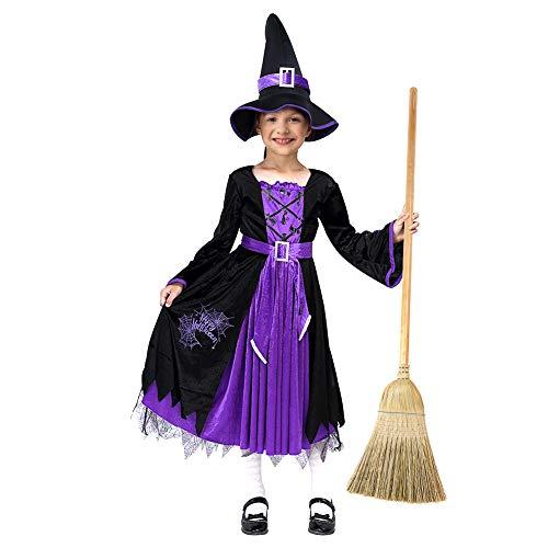 Thinkmax Hexenkostüm Kinder Mädchen, Halloween Hexe Kostüm mit Hexenhut (8-10 Jahre)