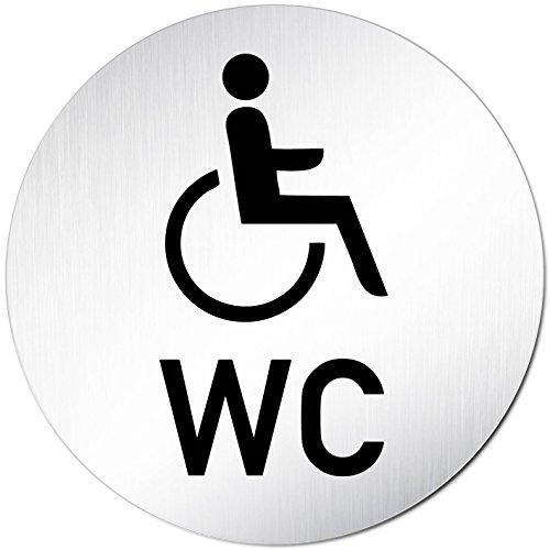 Kinekt3d Leitsysteme XXL WC Toilettenschild • Ø 100 mm • Behindertengerecht - Rollstuhl + WC • Aluminium (eloxiert) • Türschild Hinweisschild