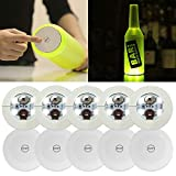 Xfunjoy 10Pcs LED Bar Coaster,LED Stickers,Light Up Bar Coasters for Drinks,Cup Holder Lights for Wine Liquor Bottle,Perfect for Party,Wedding,Bar (Cold White)