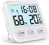 Aoccker Despertador Digital,Tiempo, TermóMetro Interno Digital LCD HigróMetro HigróMetro, El Tiempo Y El Reloj Blanco Pantalla,Blanco