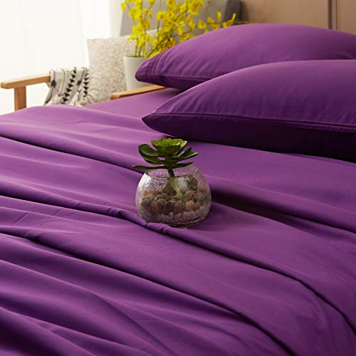 Sonoro Kate Bed Sheet Set Super Soft Microfiber 1800 Thread Count Luxury Egyptian Sheets 16-Inch Deep Pocket Wrinkle and Hypoallergenic-4 Piece(King Purple)