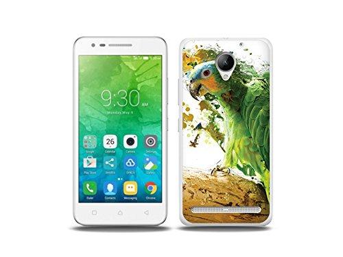 etuo Handyhülle für Lenovo C2 Power- Hülle Foto Hülle- Grüner Papagei - Handyhülle Schutzhülle Etui Hülle Cover Tasche für Handy