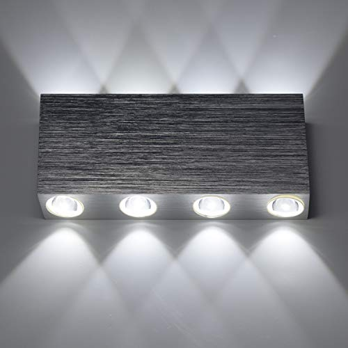 Lampop 8W LED Wandleuchte Moderne Wandbeleuchtung Wandlampe aus Aluminium für Wohnzimmer Schlafzimmer Treppenhaus Flur(Kaltes oder Warmes Weiß)