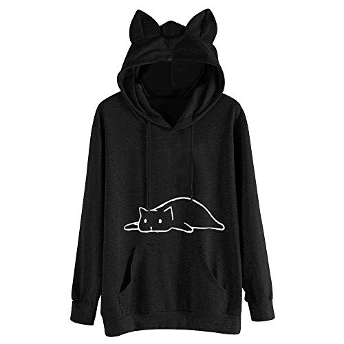 Aniywn Women's Cat Ear Hooded Shirt Cat Printing Casual Daily Long Sleeve Cute Pullover Tops Hoodie Sweatshirt Black