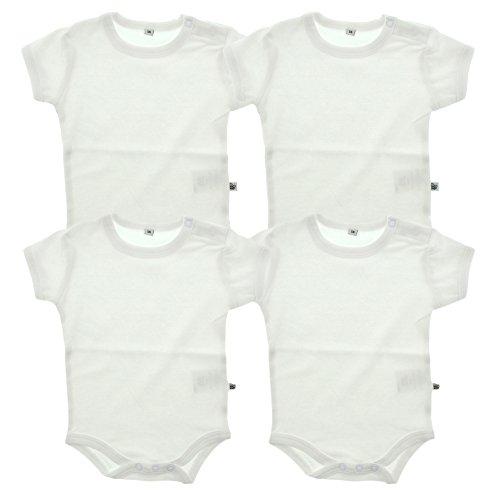 Pippi PIPPI Unisex Baby 4er Pack Aufdruck, Kurzarm Formender Body, Weiß (Weiss 100), (Herstellergröße:80)