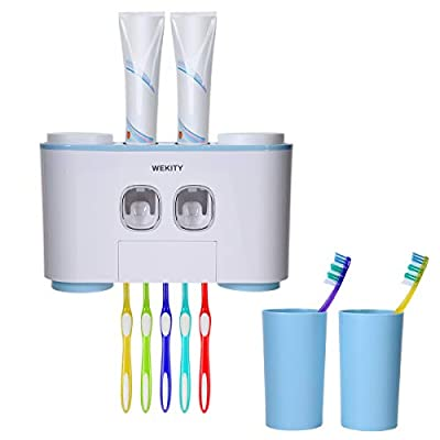 Wekity Toothbrush Holder Multifunctional Wall-Mounted Space-Saving Toothbrush and Toothpaste Squeezer Kit with Dustproof Cover, 5 Toothbrush Slots, 2 Automatic Toothpaste Dispenser and 4 Cups (Blue)