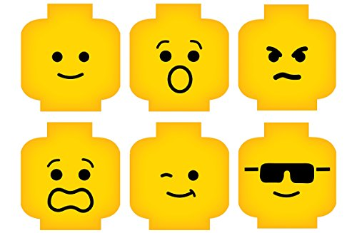 Minifig Heads Emotion Face Wall Decor Vinyl Decal Digital Print Graphic for You Kids Brick Theme Room 2469 (Small - 15.5 x 11 (5in ea))