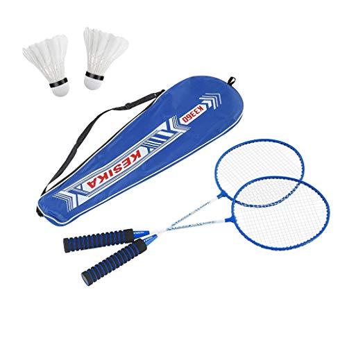 Blingko Badminton Set Federballspiel Federball 2 Schläger mit 2 Federbälle ideal für für Kinder Familie Erwachsene Urlaub Garten Strand, Badmintonschläger Set (Blau)