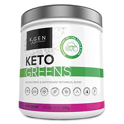 K-GEN Keto Greens (Collagen) | Superfood Micronutrient & Anti-oxidant Blend | Multi-Collagen & MCT's with 30+ Veg, Herbs & Fruits | Immune, Health & Fat Loss (Mixed Berry)