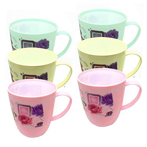Confezione da 6 tazze in plastica con manico floreale e colorato, per bambini, senza BPA, per tè, caffè e bevande
