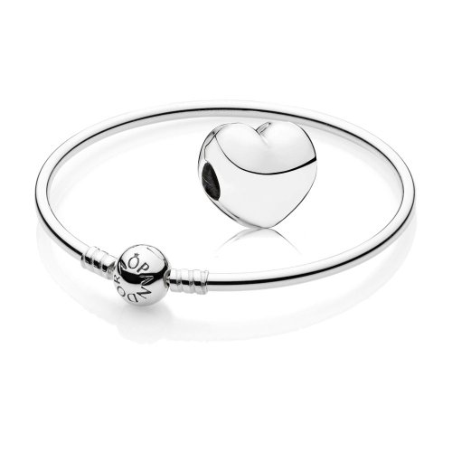 Original PANDORA Starterset / Geschenkset 925er Sterling Silber - 1 Silber Armreif - Länge 17 cm - Art.Nr. 590713-17 und 1 Silber Clip Treues Herz - Art.Nr. 791279