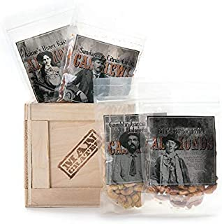 Man Crates Saloon Nuts Mini Crate – Flavorful Food Gift For Men – Includes Butter Toffee Almonds, Jalapeño Garlic Cashews and More – Ships In A Sealed Wooden Crate With A Laser-Etched Crowbar