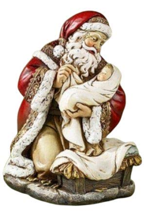 Adoring Santa Claus with Baby Jesus Kneeling 8 Inch Resin Colored Statue