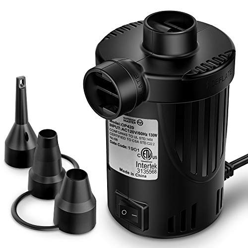 OutdoorMaster Air Mattress Pump - Electric Air Pump Portable OP420 0.64 PSI Inflator/Deflator Pumps for Raft, Pool, Pool Floats, Bed, Toy, Yoga Ball, Quick-Fill AC Pump with 3 Nozzles,110-120 Volt