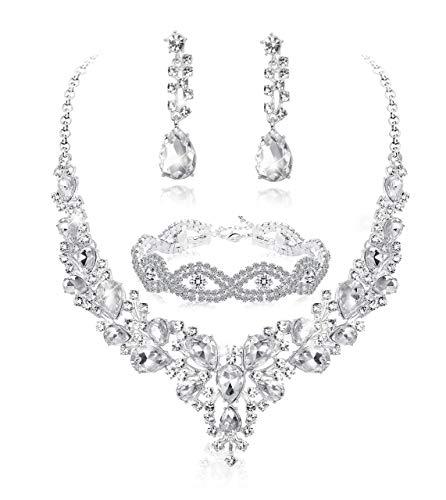 Fiasaso 3pcs Crystal Bridal Jewelry Set for Women Rhinestone Necklace Earrings Bracelet Wedding Bridesmaid Silver Tone