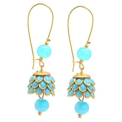 Zephyrr Moda Oro Hoop Bead Jhumki Pendientes con diamantes de imitación para niñas y mujeres