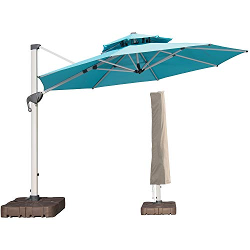 LKINBO 11 FT Offset Patio Umbrella with Cover - 360 Degree Rotation Cantilever Patio Umbrella Large...