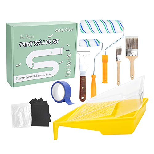Paint Roller Kit, 9 Inch 4 Inch Paint Roller, Paint Tray, Paint's Multi-Tool, Paint Brushes, 15 Pcs House Painting Supplies for Home Improvement, Reusable Rolling Brushes,Tray, Easy to Clean
