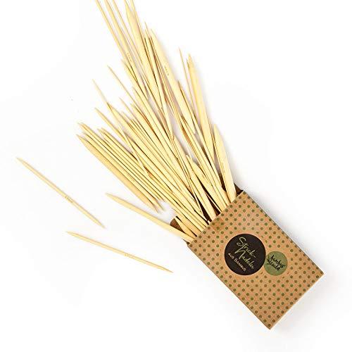 bambuswald© ökologische Stricknadel aus 100% Bambus | ca. 15cm lang | 75x im Set - 2,0 bis 10mm - doppelte Spitze - Nadel BZW. Strickzubehör für Handarbeit. Stricknadelset mit glatter Oberfläche