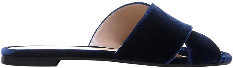 Women's Summer Velvet Slip-On Open Toe Flip Flops, Cross Strap Flats Slipper Slide Sandal